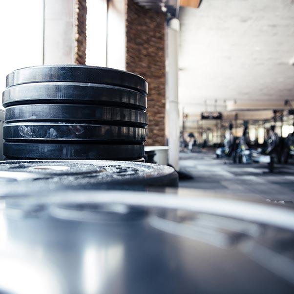 In un ambiente sportivo vediamo pesi per il ftiness e attrezzi per il fitness come cyclette o tapis roulant